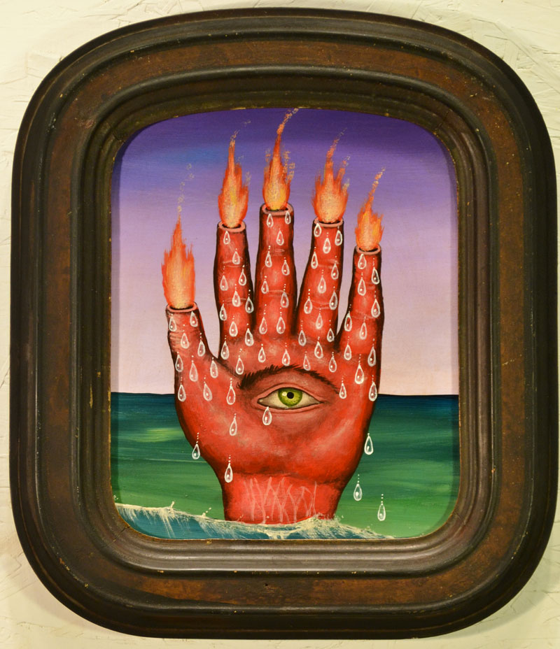 Fred Stonehouse, Hot Hand, 2014, acrylic on panel with antique frame, 33x28 cm