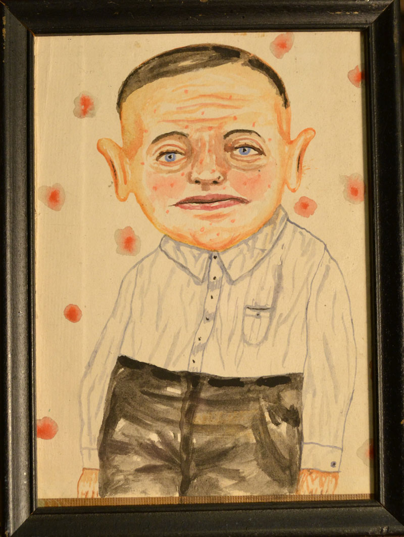 Fred Stonehouse, Slouch, 2013, watercolor on antique paper, 20x15 cm