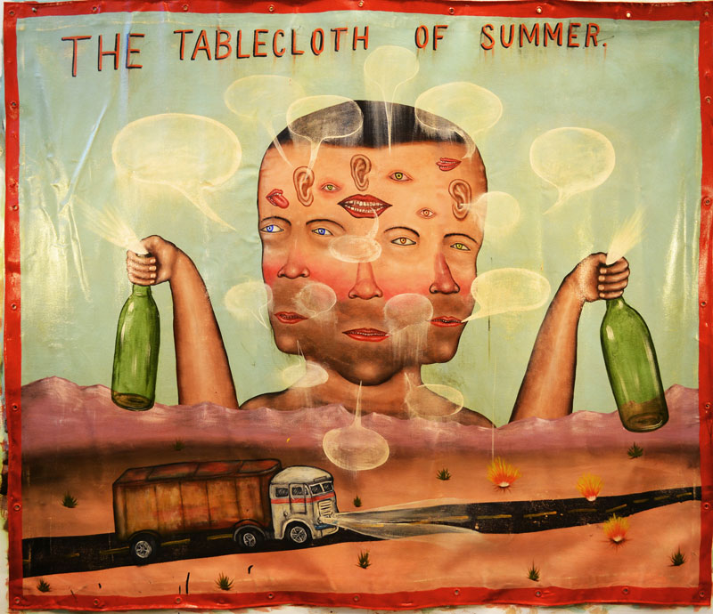 Fred Stonehouse, The Tablecloth of Summer, 2013, acrylic on canvas banner, 172x193 cm