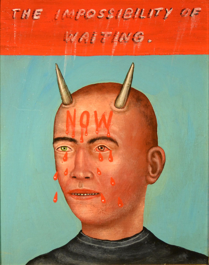 Fred Stonehouse, Waiting, 2014, acrylic on panel with antique frame, 35,6x30,5 cm