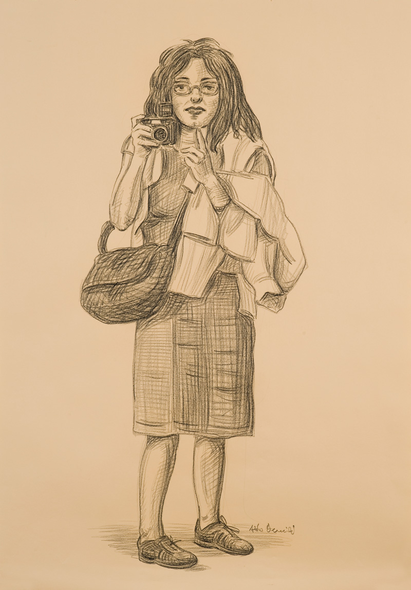 Aldo-Damioli, Studio, 2010, pencil on paper mounted on canvas,100x45 cm