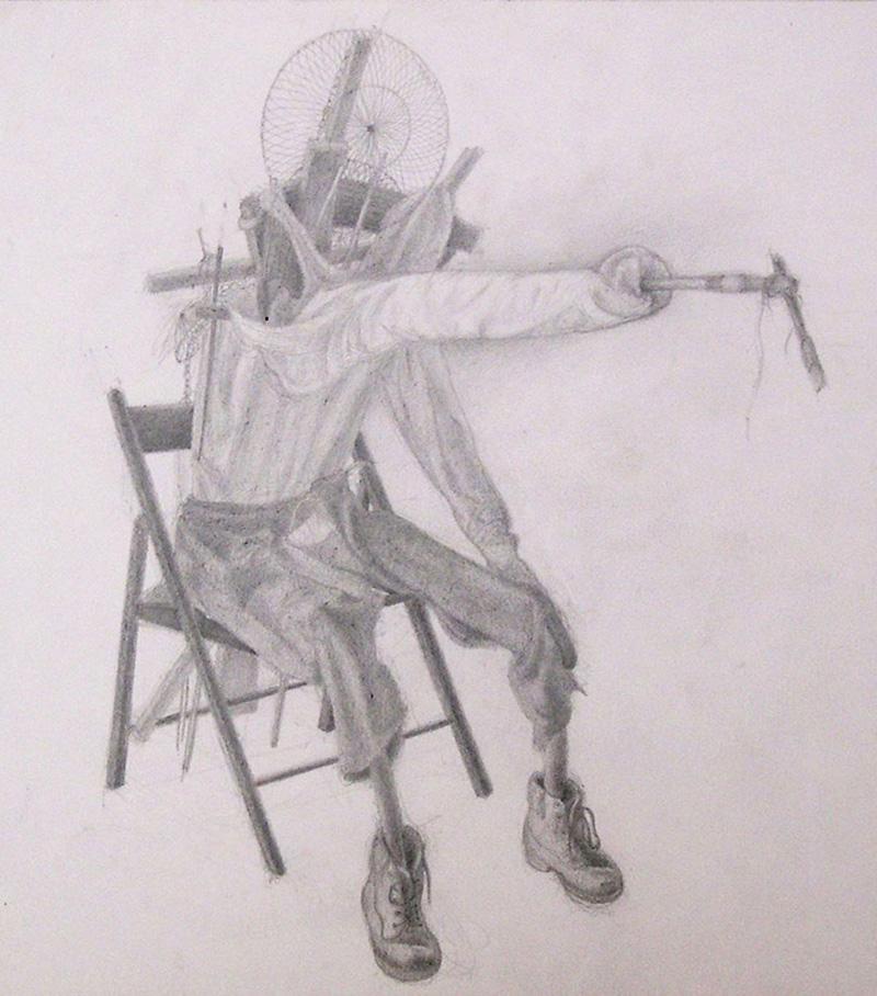Giuliano Guatta, Il pittore seduto colto nell'atto di dipingere, pencil on paper, 29x29 cm