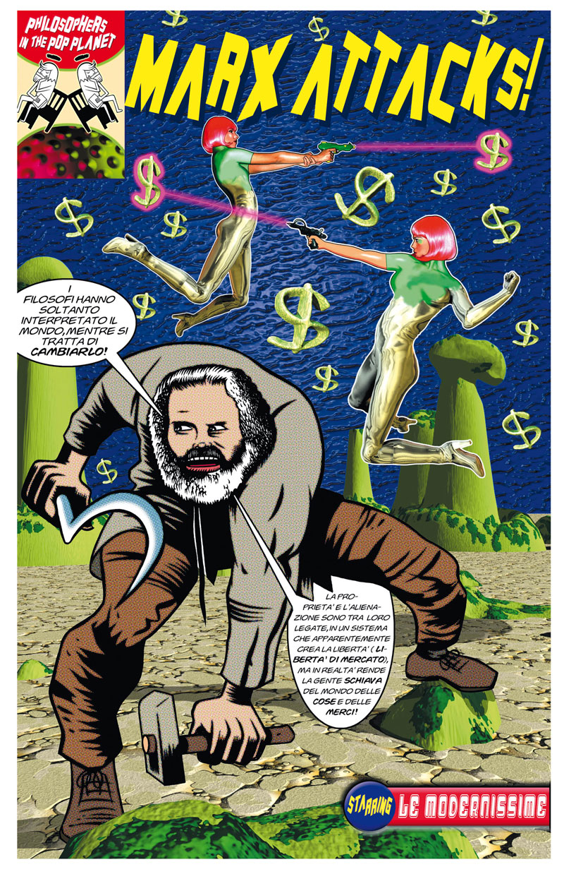 Massimo Giacon, Marx Attacks, 2001, acrylic on digital print, 124x180 cm
