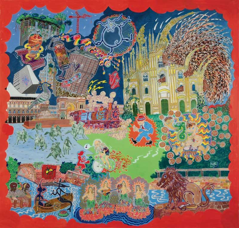 Matteo Guarnaccia, Una piazza a misura D'uomo e di altri esseri, 2009, acrylic on canvas, 195x207 cm