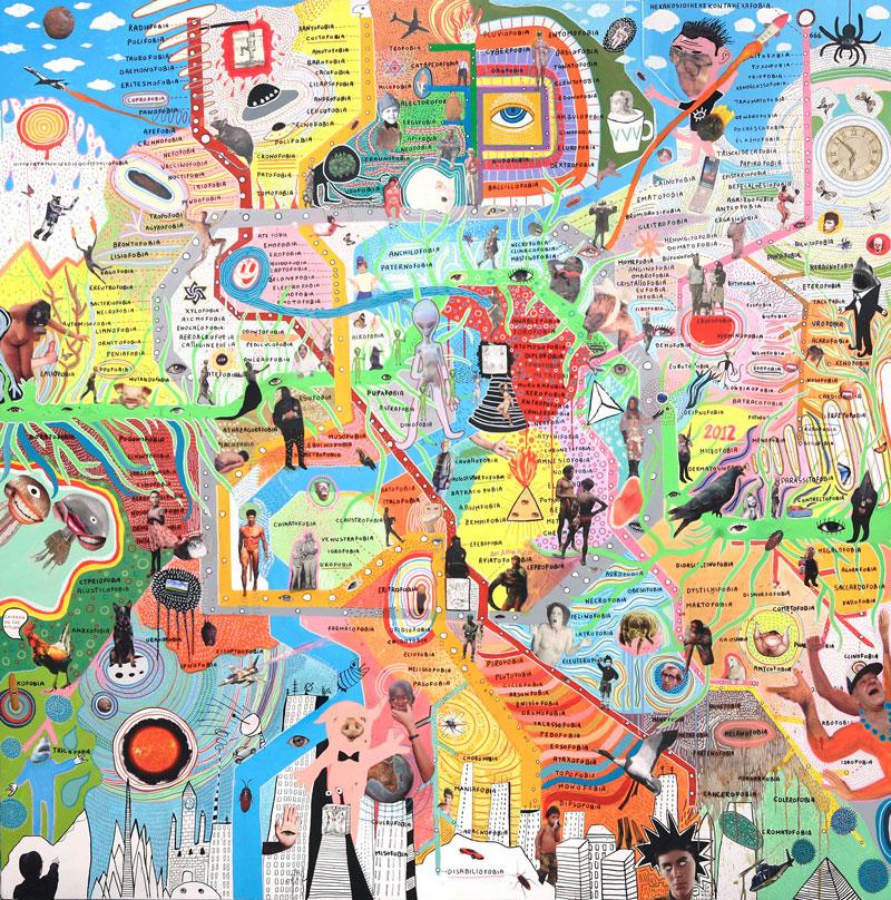 Laboratorio Saccardi, Fobofobia, 2009, mixed media on canvas, 200x200 cm