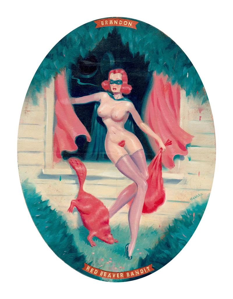 Ryan Heshka, Red Beaver Bandit, 2015, acrylic and mixed on ill board, 19x14 cm