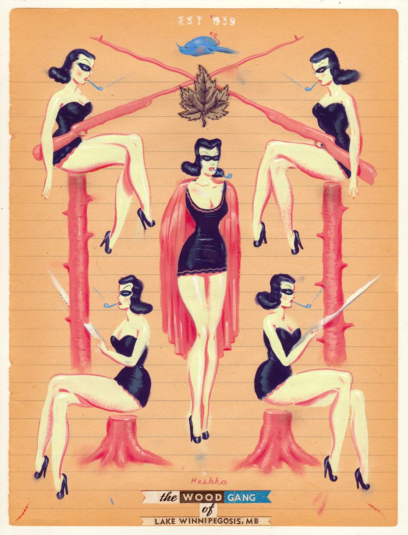 Ryan Heshka, Wood Gang of Lake Winnipegosis, 2015, gouache and mixed on vintage paper, 24x18 cm