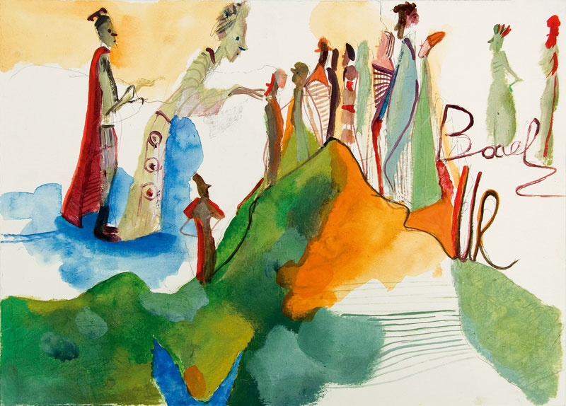 Marco Cingolani, Finalmente a casa, 2007, mixed media on paper, 35x45 cm