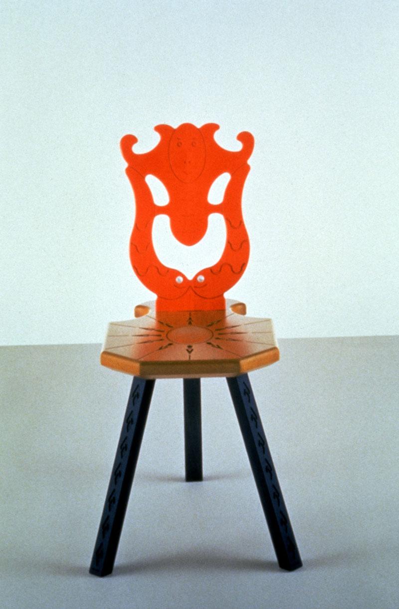 Alessandro Mendini, Sedile del Museo Bagatti Valsecchi, 1996, sedia in legno, anilina, madreperla