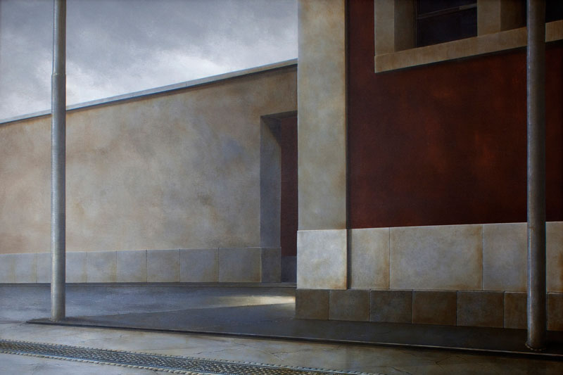 Arduino Cantafora, Domenica pomeriggio I, 2006, vinilico e olio su tavola, 80x120 cm