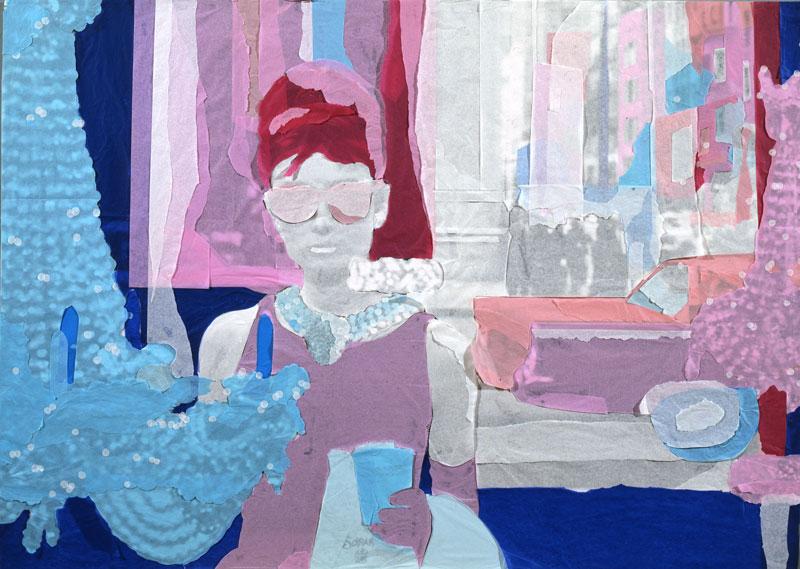 Andrea Mastrovito, Colazione da Tiffany, 2008, spilli e carta velina su poster su polistirene, 100x70 cm