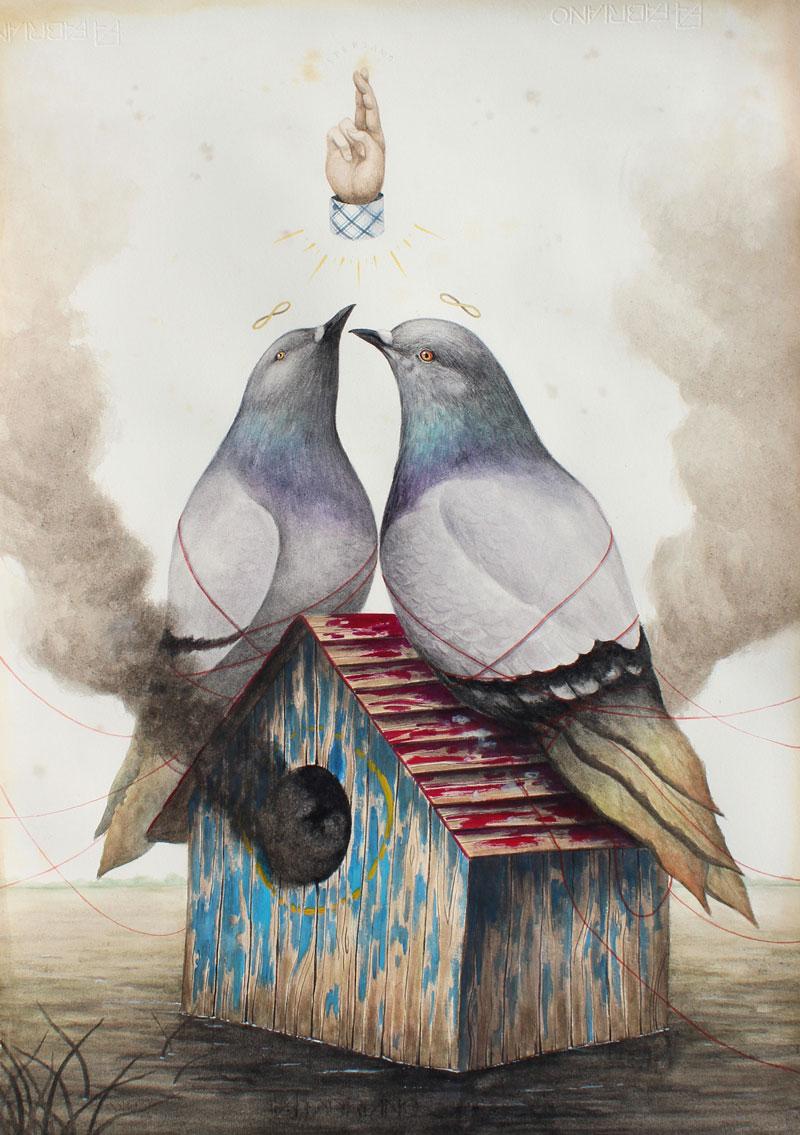El Gato Chimney, Home, 2015, mixmedia on cotton paper, 71x50 cm