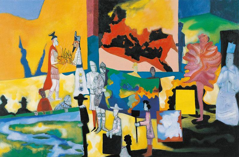 Marco Cingolani, Finalmente a casa (le parole originali), 2007, oil on canvas, 100x150 cm