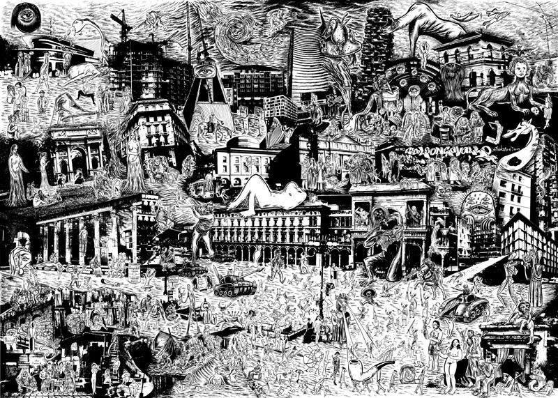 Hurricane, La famosa invasione degli artisti a Milano, 2015, mixed media on paper, 70x97 cm