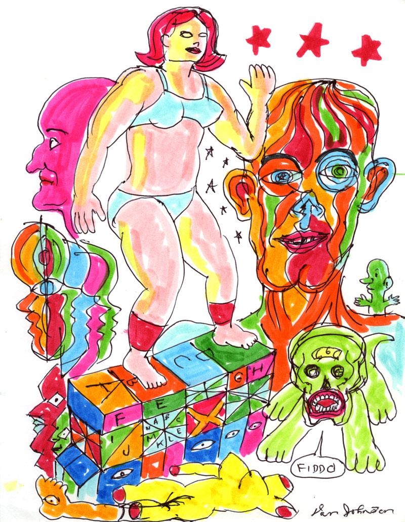 Daniel Johnston, Fiddo,2002, pen and marker on paper, 28x21,5 cm