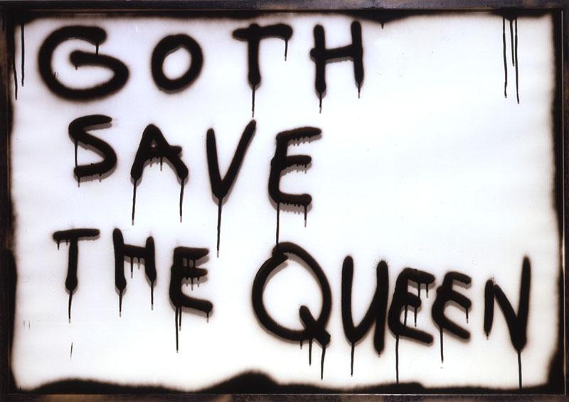 MARC BIJL, Goth save the queen,02, smalto su vetro e legno, 72x103 cm
