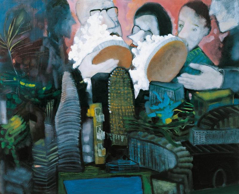 Marco Cingolani, Real estate (torte in faccia agli architetti), 2007, oil on canvas, 130x160 cm