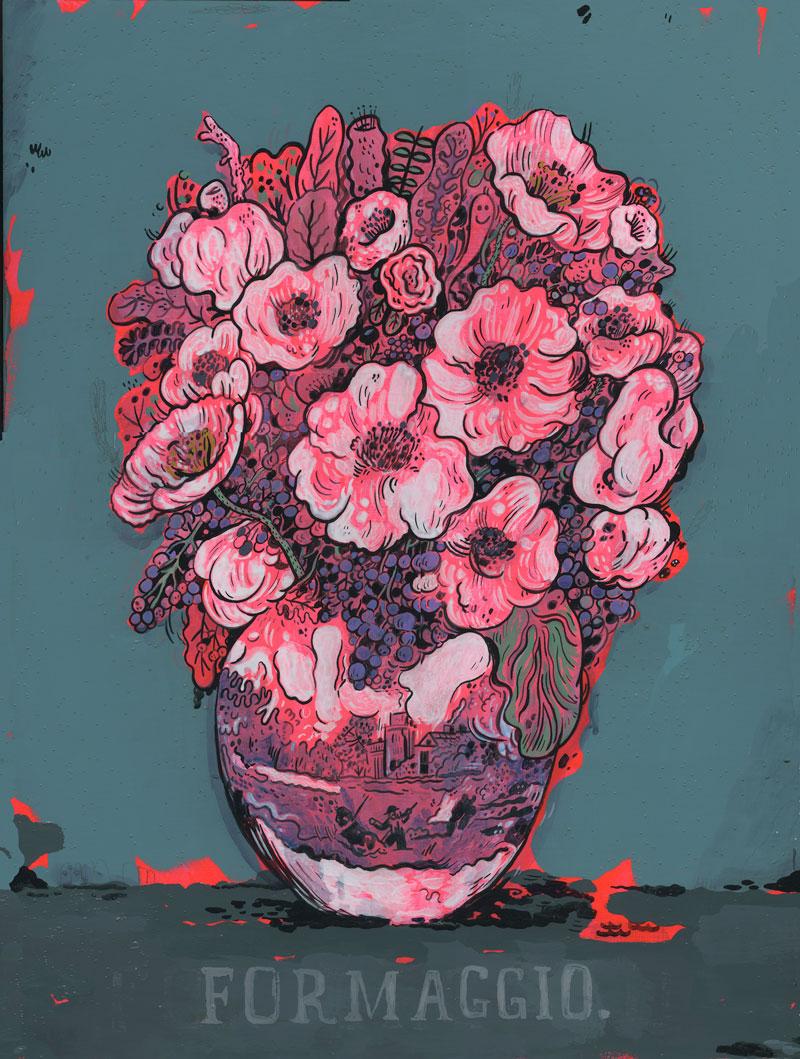 Mark Todd, Formaggio Flowers, 2015, cel-vinyl and acrylic on panel, 61x46 cm