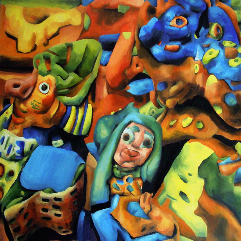 Marta Sesana, Tanta gente, 2015, oil on canvas, 100x100 cm