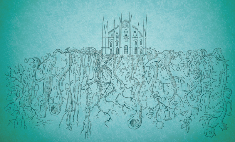 Massimo Giacon, Milano Underground, 2015, acrylic on canvas, 150x200 cm