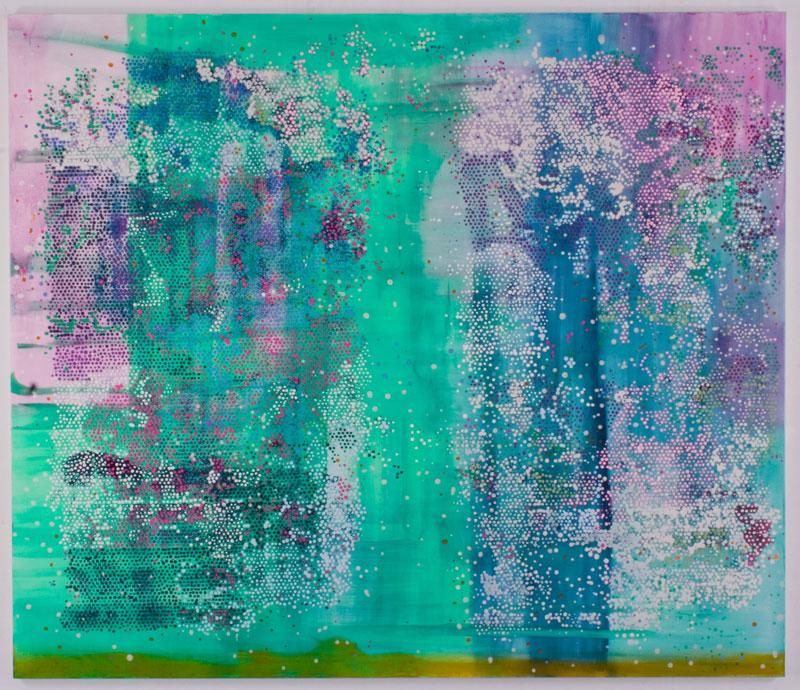 Massimo Kaufmann, Rari giorni verdi e rosa, 2009-2010, olio su tela, 188x212 cm