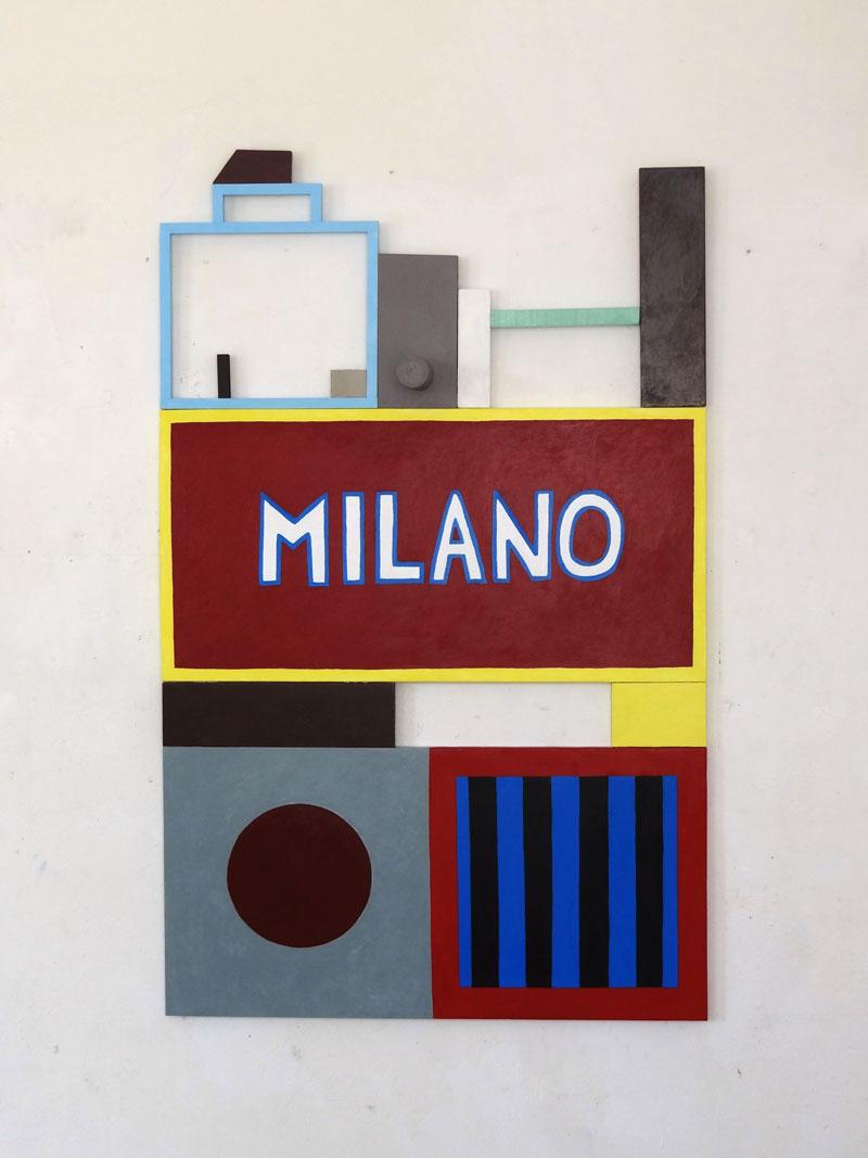 Nathalie Du Pasquier, Milano, 2015, acrilico su tela e legno, 159,5x100x14,5 cm