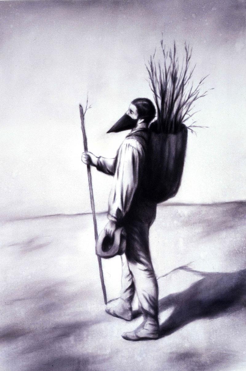 Luigi Presicce, Bonjour Monsieur Courbet,06, 80x90cm, acrylic on fabric