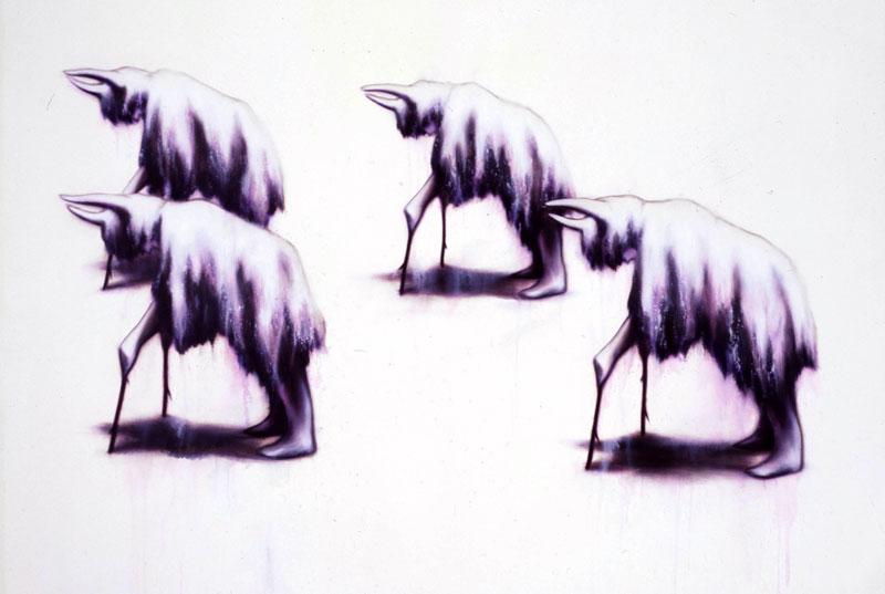 Luigi Presicce,Processione,06, acrylic on canvas, 180x125cm
