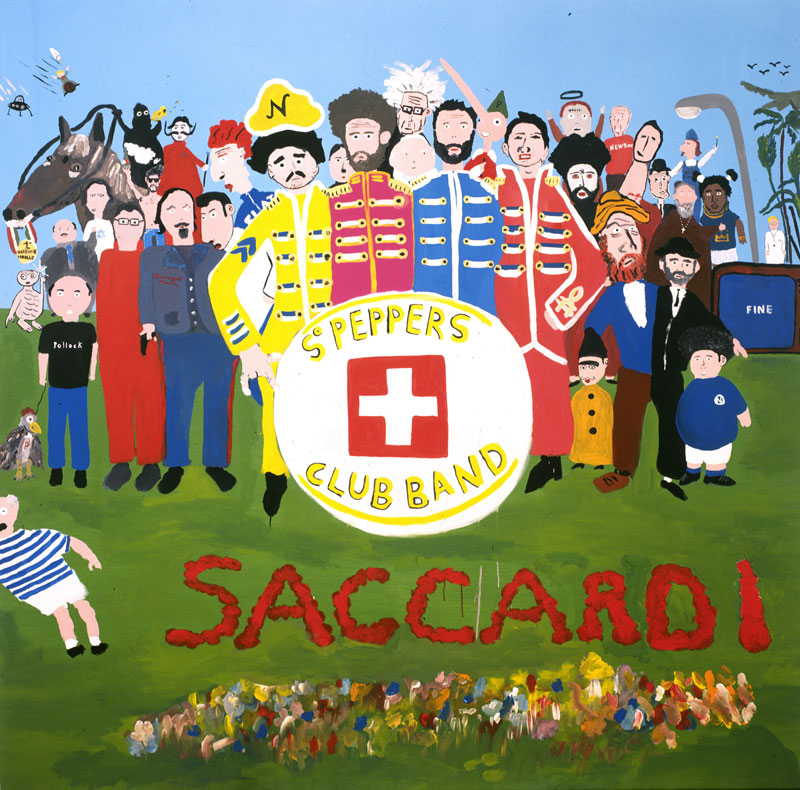 Laboratorio Saccardi, SGT Peppers Saccardi Club Band, 2005, acrylic on canvas, 200x200 cm