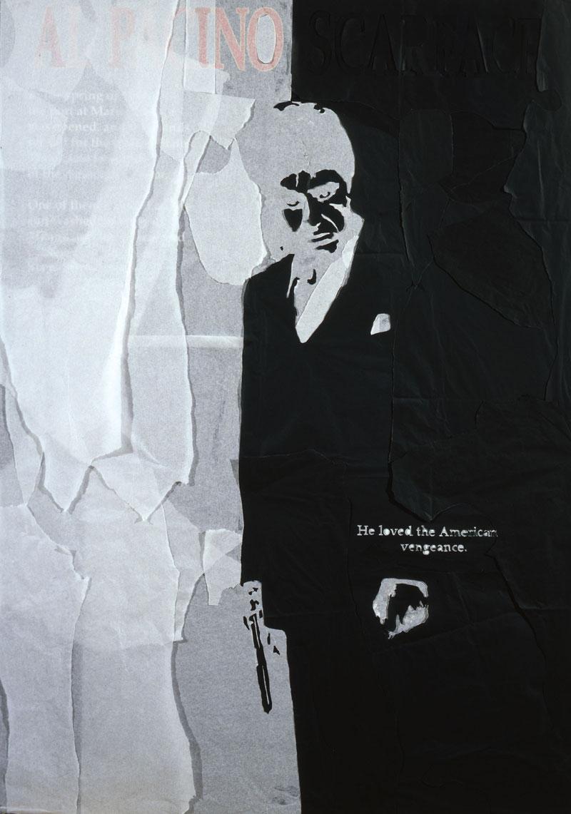 Andrea Mastrovito, Scarface, 2008, spilli e carta velina su poster su polistirene, 140x100 cm