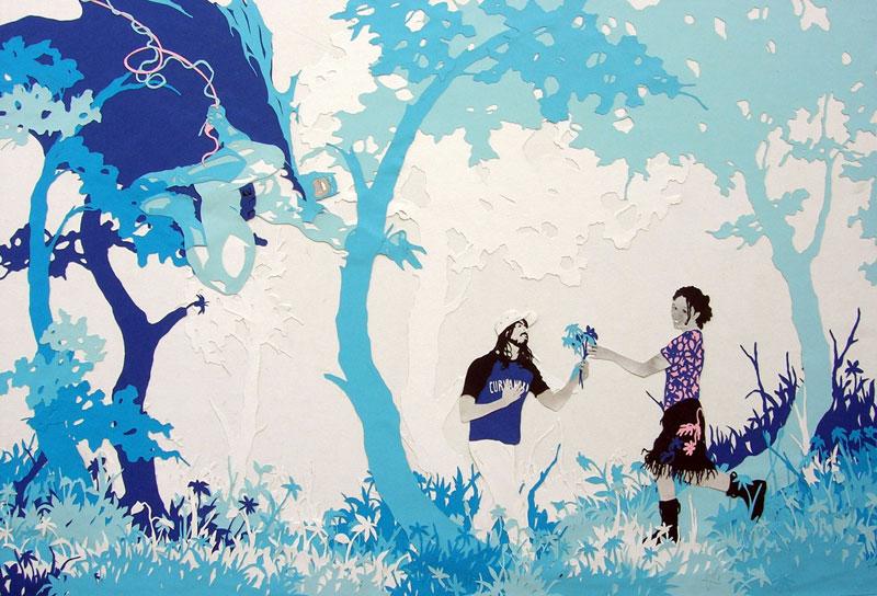 Se Qualcuno Ruba Un Fiore Per Te, 2006,collage Su Carta Su Tavola Cm 62×93