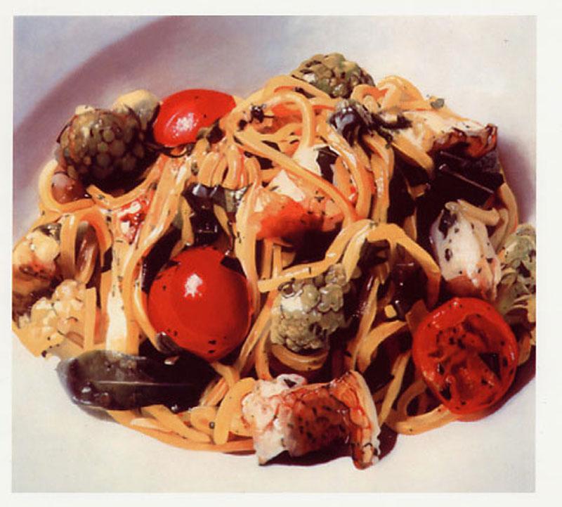 Francesco Lauretta, Spaghetti alla chitarra, 2000,olio su tela, cm 118x93