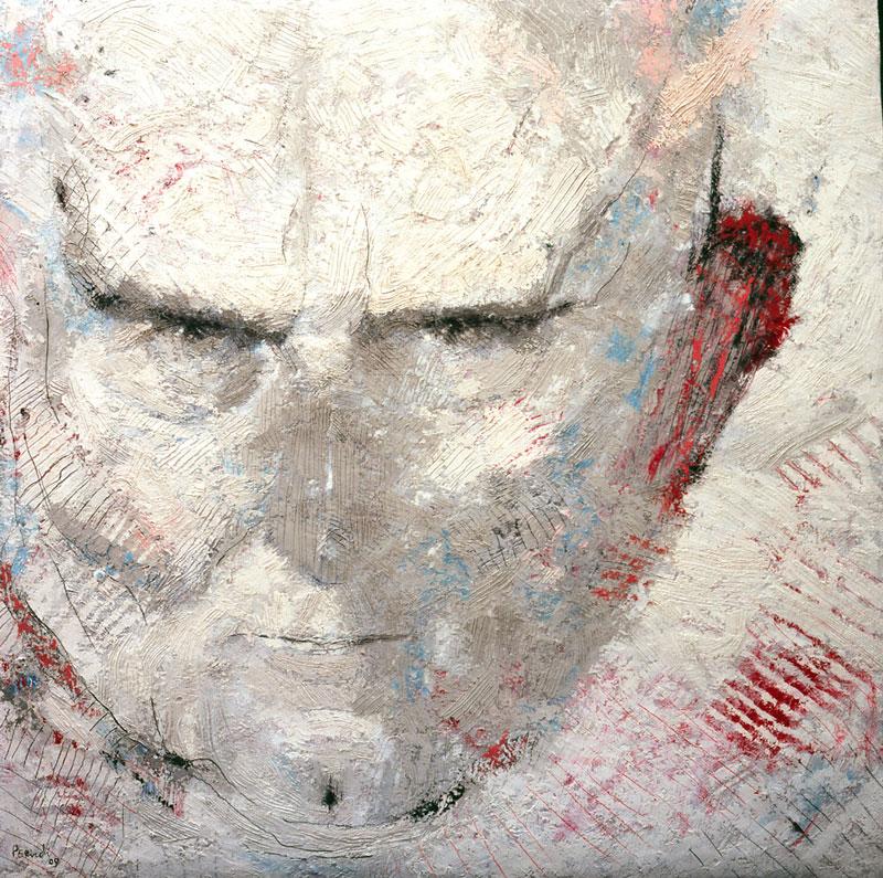 Tullio Pericoli, Giovanni Testori, 2009, Olio e matite su tela, 90x90 cm