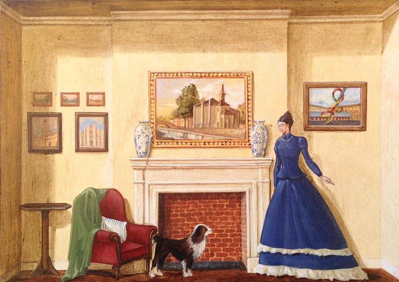 Vanni Cuoghi, Monolocale 21 (la Vergine Cuccia), 2015, acrilico e olio su tela, 21x30 cm