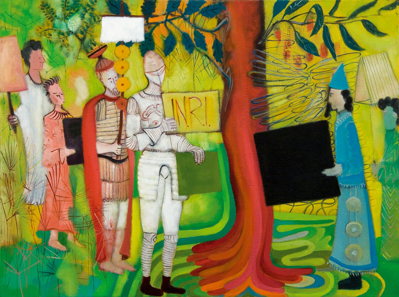 Marco Cingolani, Veterani (scambio di paragoni), 2007, oil on canvas, 60x80 cm