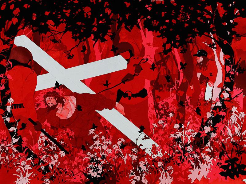 Andrea Mastrovito, Via crucis, 2006, collage on paper, 145x195 cm