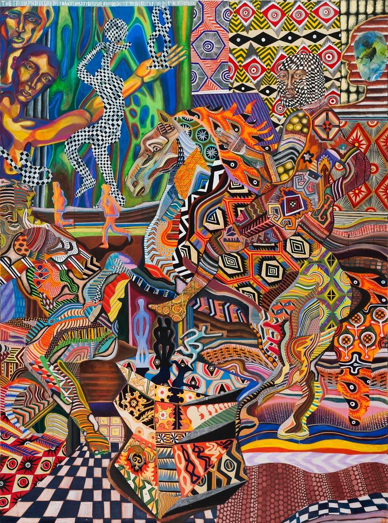 Zio Ziegler, I Trionfi, 2015, mixed media on canvas, 244x183 cm