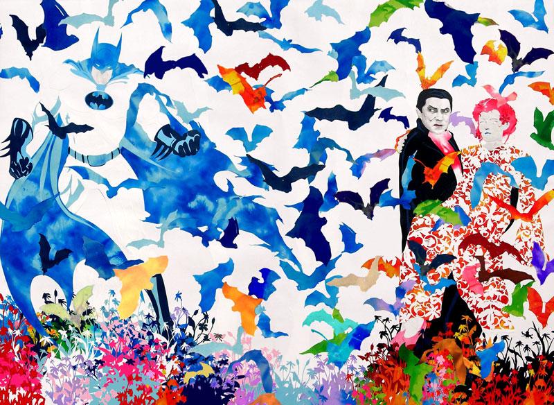 Andrea Mastrovito, Tranquilli tutto a posto, 2006, collage on paper, 180x120 cm