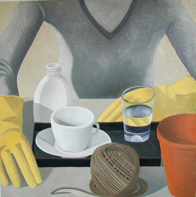 Nathalie Du Pasquier, Alice Con I Guanti, 2002, Oil On Canvas, 150x150 Cm