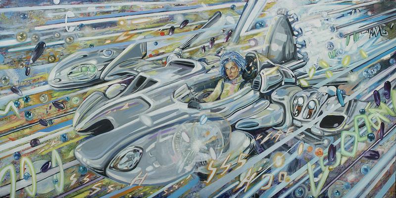 Dormice, Boccioni Formula 1, 2002, Mixed Media On Canvas, 400x200 Cm