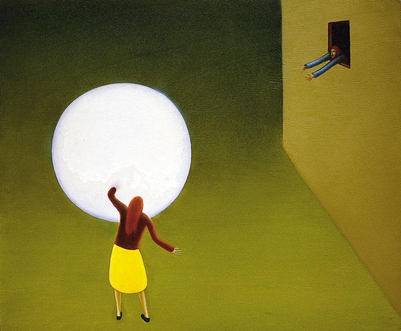 Giuliano Guatta, Era Un'enorme Palla Bianca, 2001, Oil On Board, 45x55 Cm