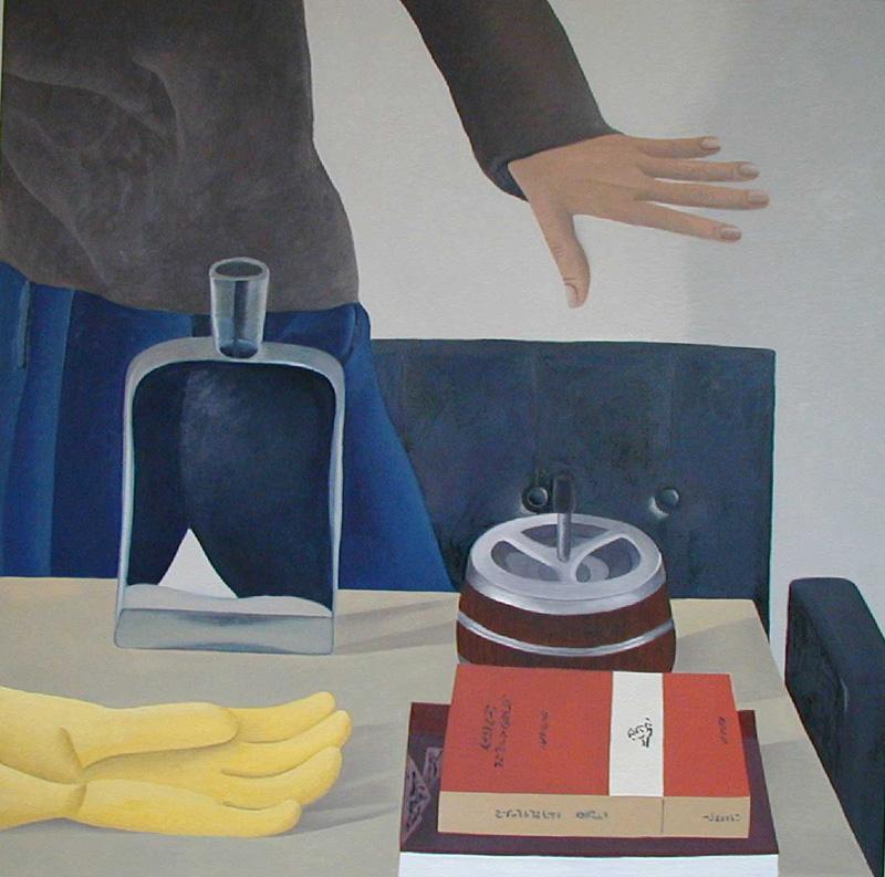 Nathalie Du Pasquier, Con Mano-libri-posacenere, 2002, Oil On Canvas, 150x150 Cm
