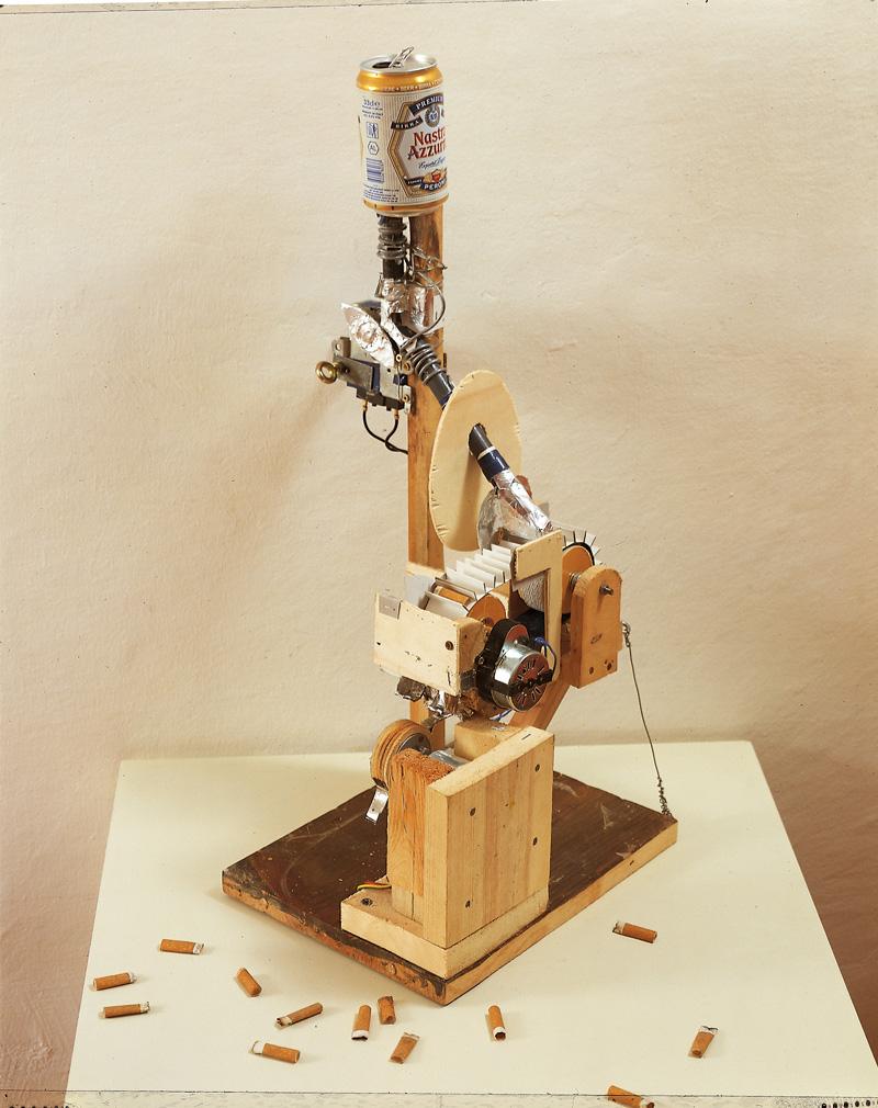 Lorenzo Scotto Di Luzio, Smoking And Drinking, 2002, Wood, Cardboard, Sigarettes, 80x20x30 Cm