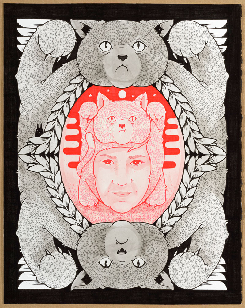 Jeremy Fish, LOVE AND COMPANIONSHIP, 2015, ink on paper, hand carved wood frame, 40,6x50,8 cm