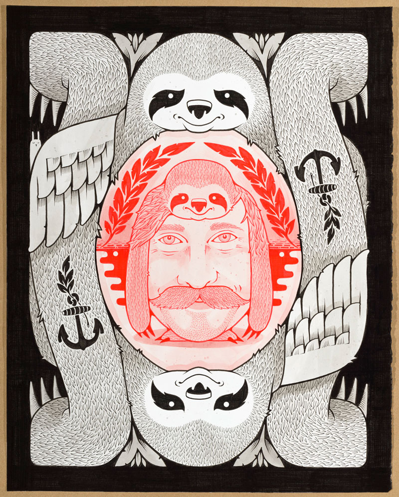 Jeremy Fish, TRUTH AND FRIENDSHIP, 2015, ink on paper, hand carved wood frame, 40,6x50,8 cm