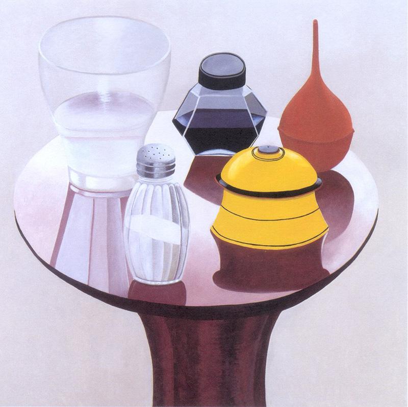 Nathalie D Pasquier, 2000, Tavolino con pera di gomma, oil on canvas, 180x180, cm