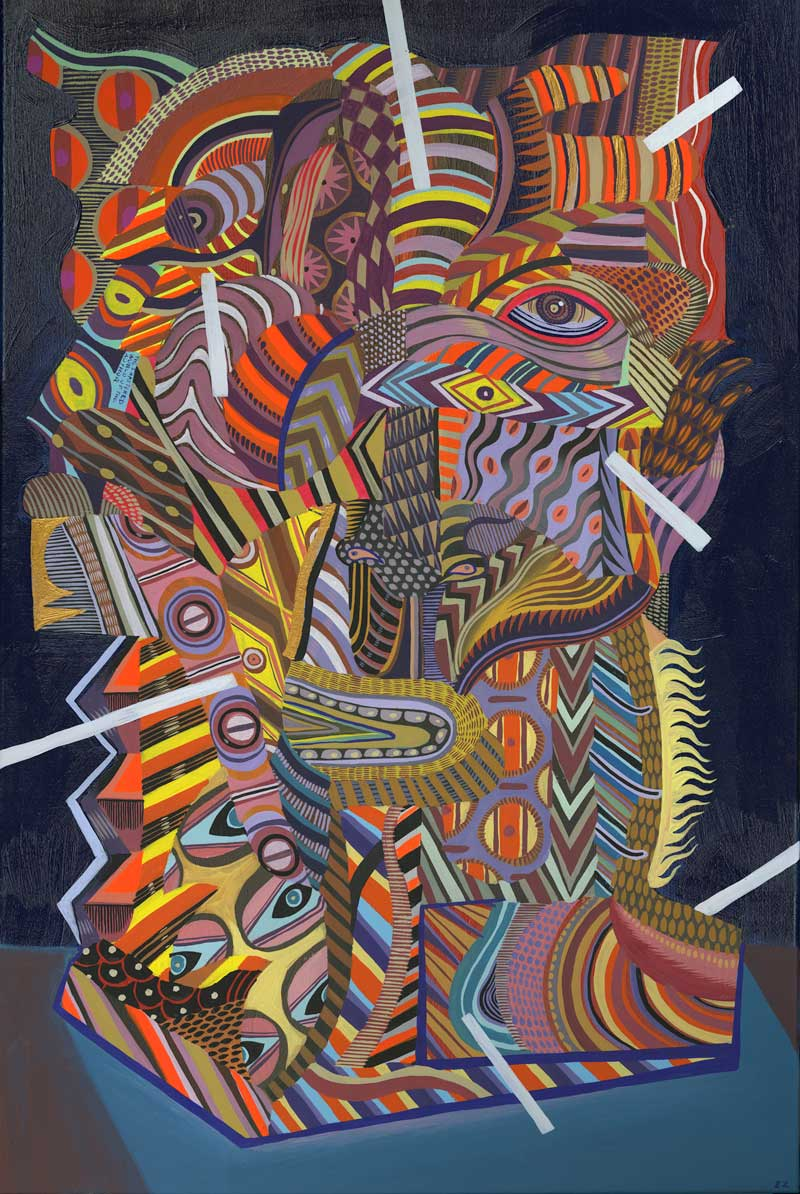 Zio Ziegler, The Aggregation God IV, 2015, gouache, acrylic, mixed media on canvas, 91,4x61 cm