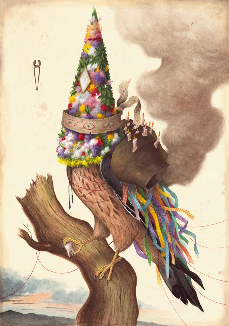 El Gato Chimney, In ogni dove, 2015, mix media on cotton paper,100x70 cm