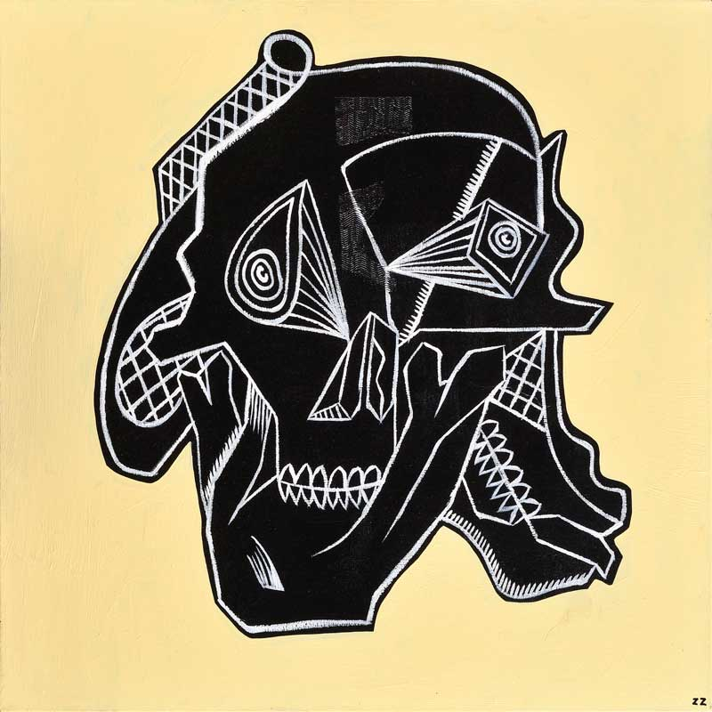 Zio Ziegler, Skull Study#1, 2012, Mixed Media On Canvas, 76x76 Cm