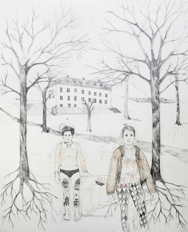 Erika Nordqvist, The Collectors, 2016, Pencil On Paper, 120x150 Cm
